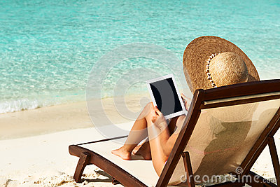 beach lady with tablet